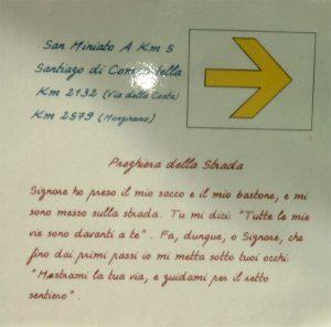 Wegspruch auf der Via Francigena